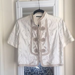 Elie Tahari cropped linen embroidered jacket